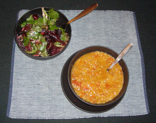 Roasted Beet and Green Bean Salad and Lentil Soup
