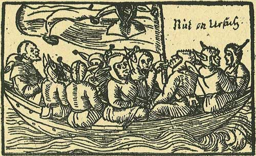 The ship of fools, depicted in a 1549 German woodcut